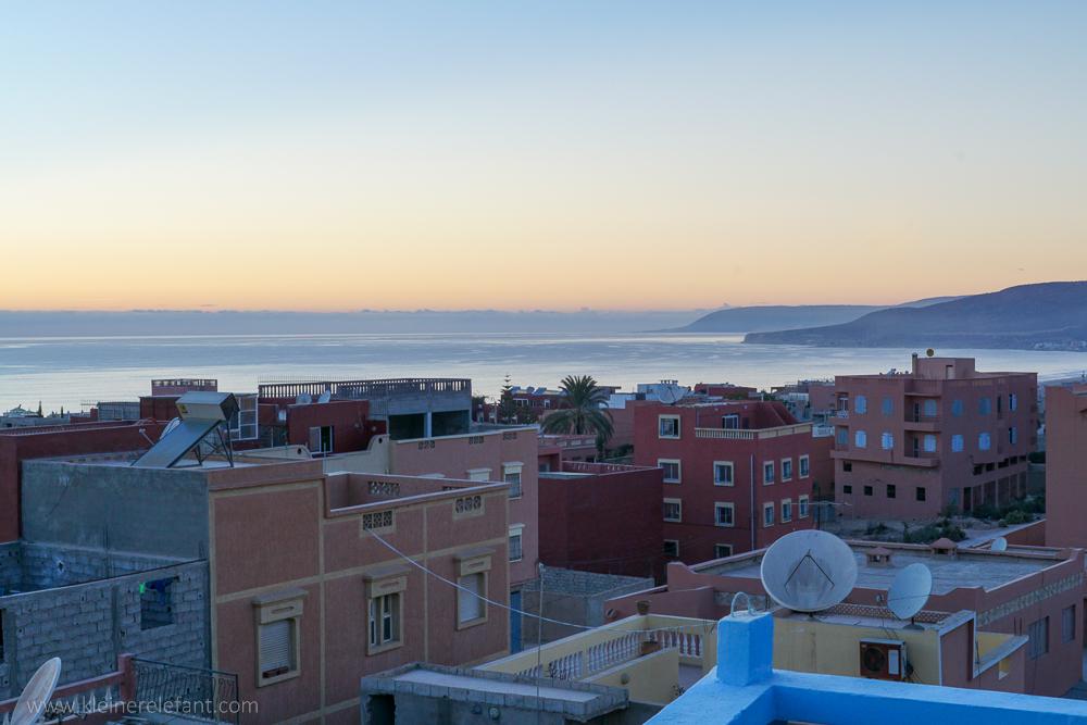 Marokko Blick von der Dachterrasse in Tamraght