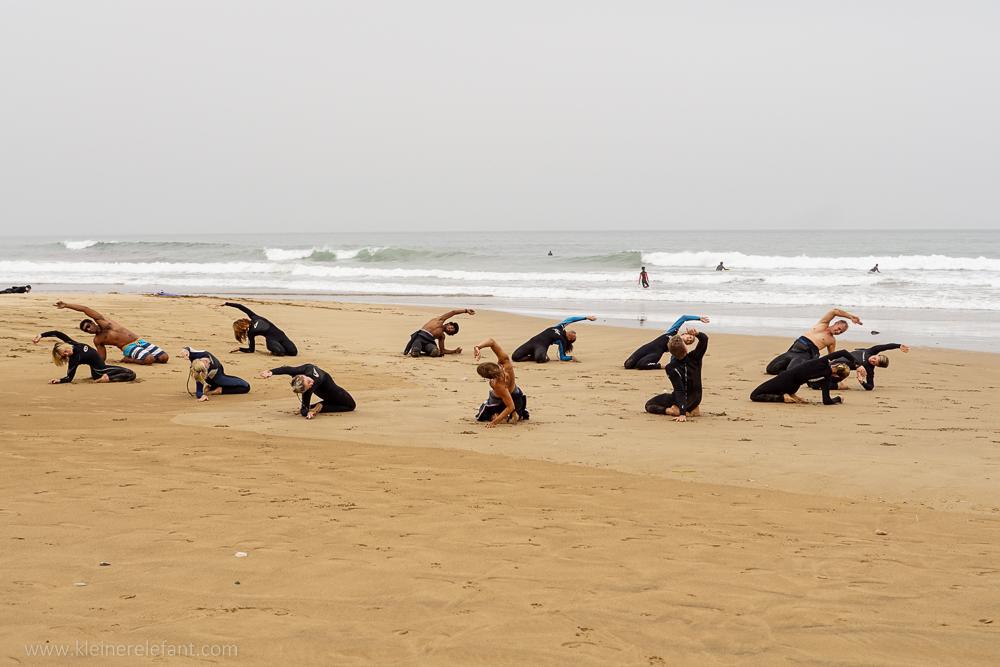 Warm Up am Strand von Taghazout