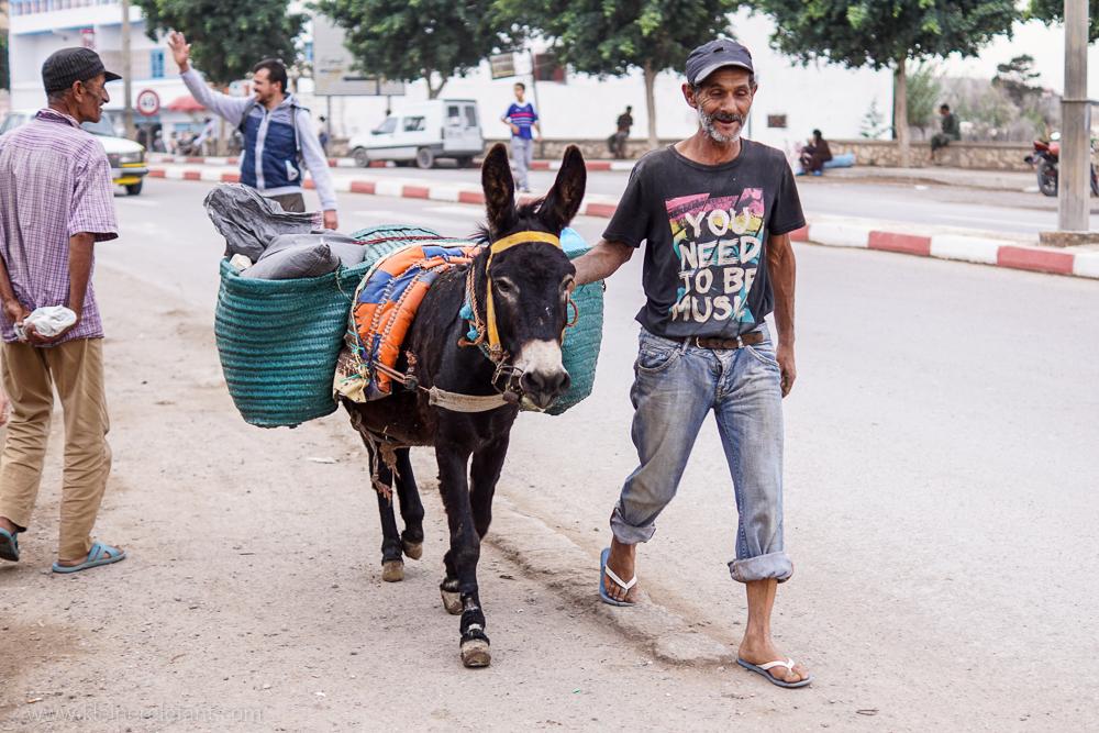 Mann mit Esel in Marokko