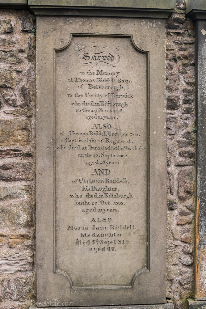 Thomas Riddels Grave in Edinburgh