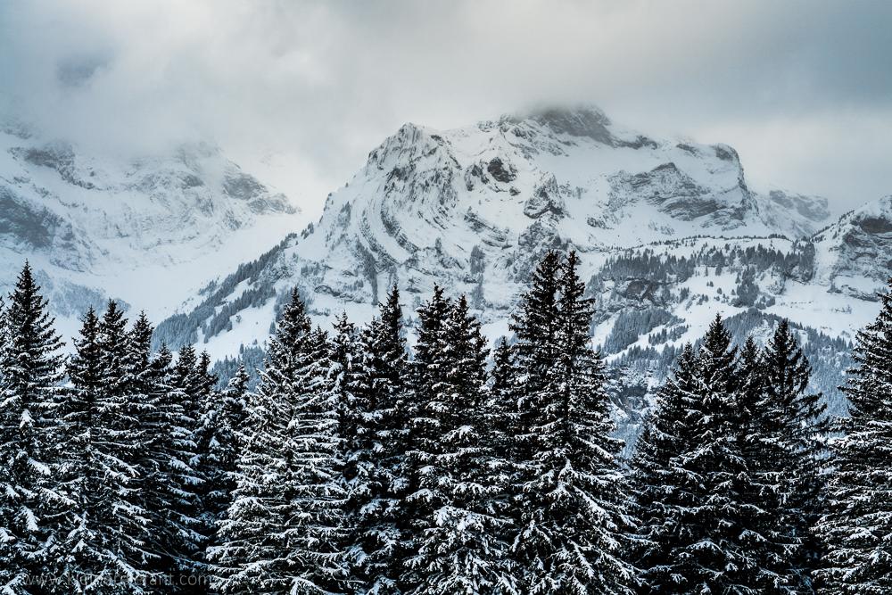 Verschneiter Berg in Engelberg