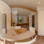 So sieht ein typisches Wohnzimmer im Mobilheim von Homair aus.